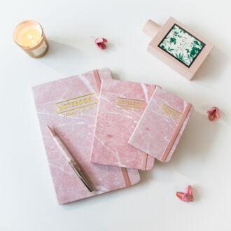 Rózsaszín márvány mintás notesz A6