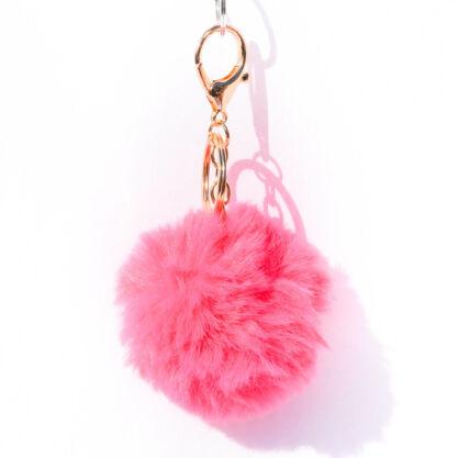 Puha Szőrmés Kulcstartó Pink