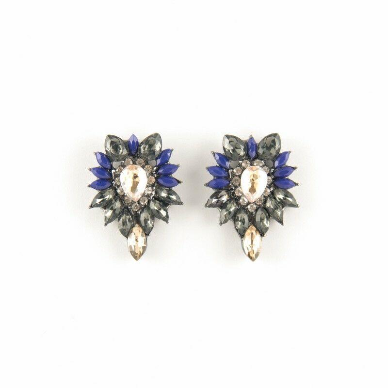 Crystal fülbevaló kék-fekete