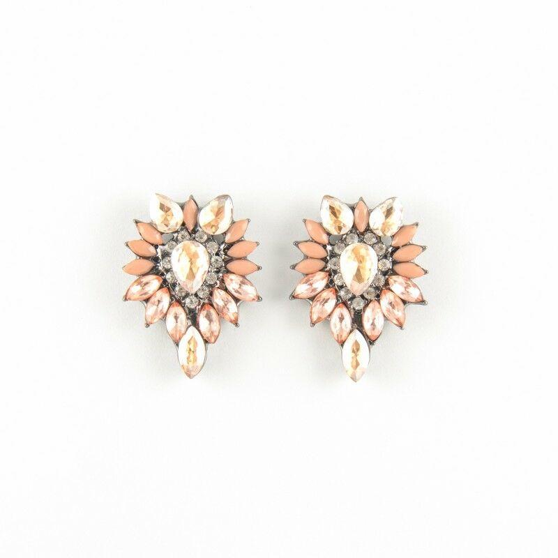 Crystal fülbevaló rózsaszín-fehér