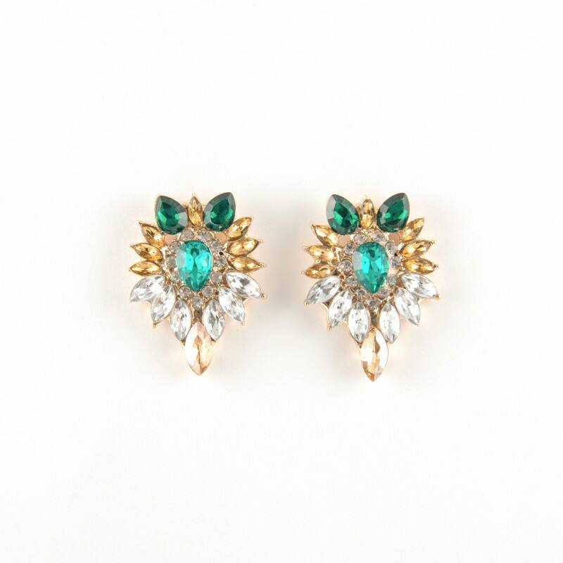 Crystal fülbevaló zöld-arany-fehér