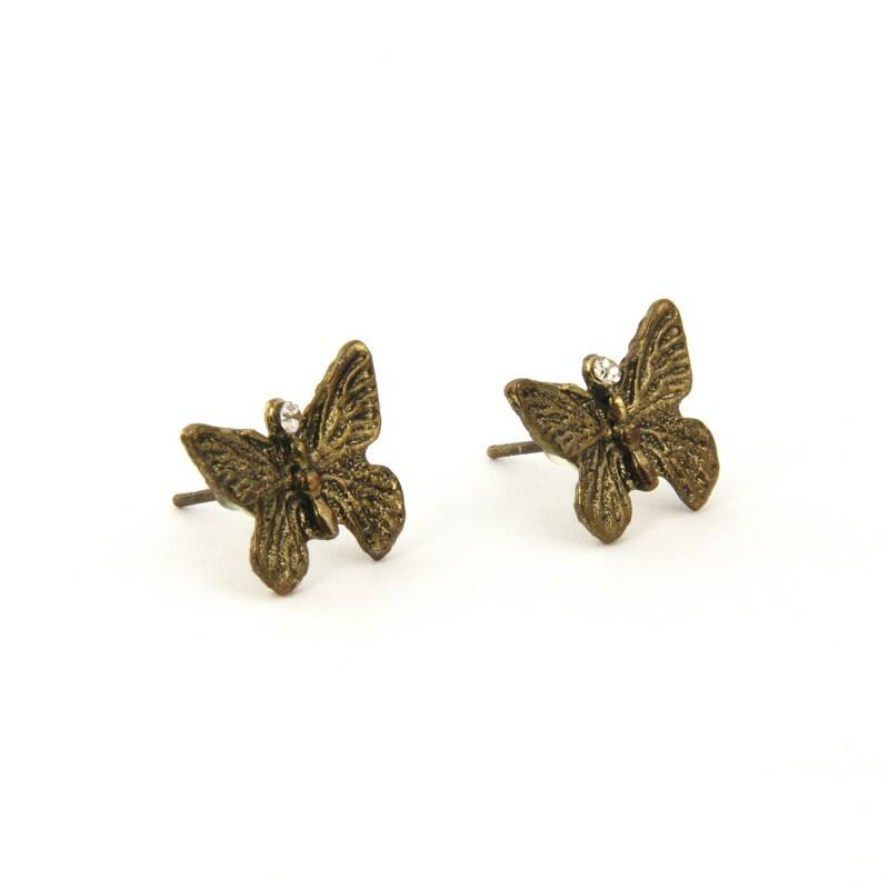 Réz pillangó fülbevaló