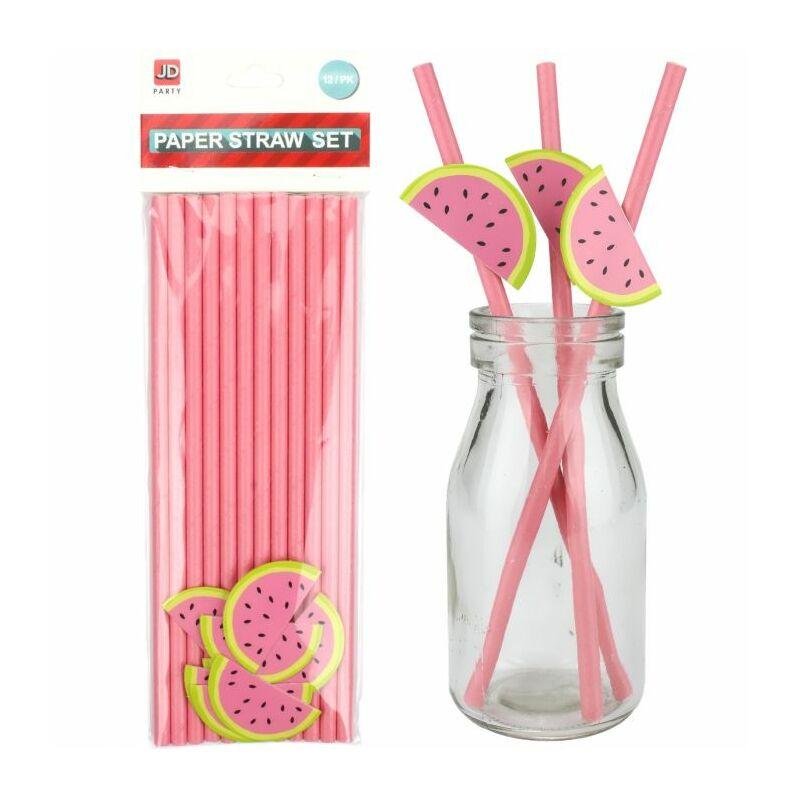 Papír szívószál csomag - 12 db rózsaszín