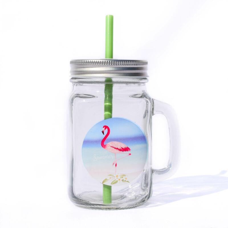 1 Flamingós Bögre Szívószállal