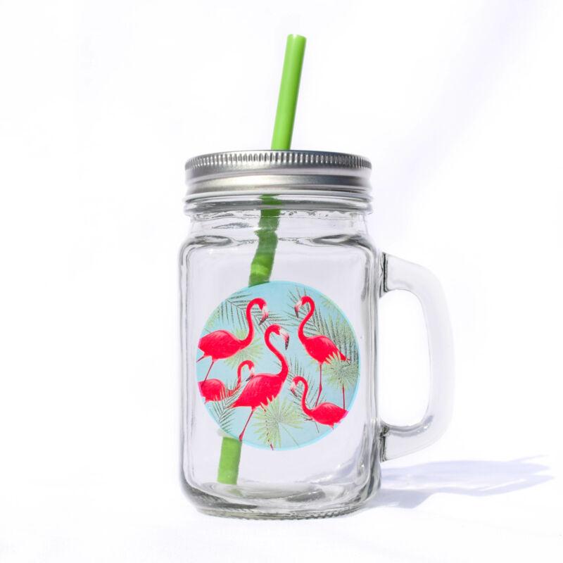 Sok Flamingós Bögre Szívószállal