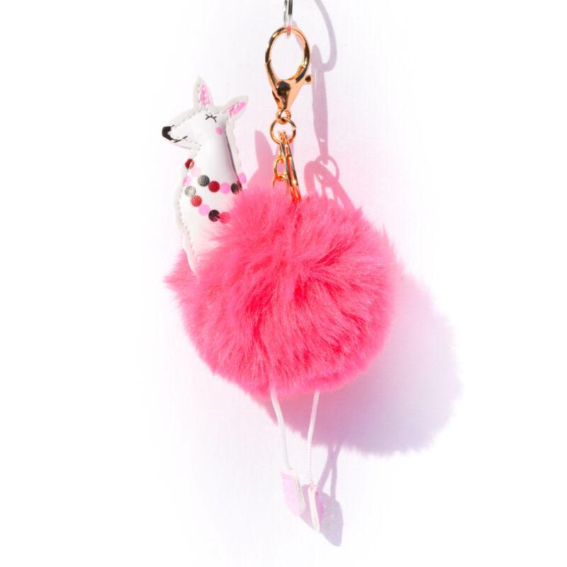 Lámás Puha Szőrös Kulcstartó Pink