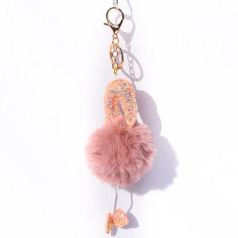 Flamingós Puha Szőrös Kulcstartó Hamvas Barack