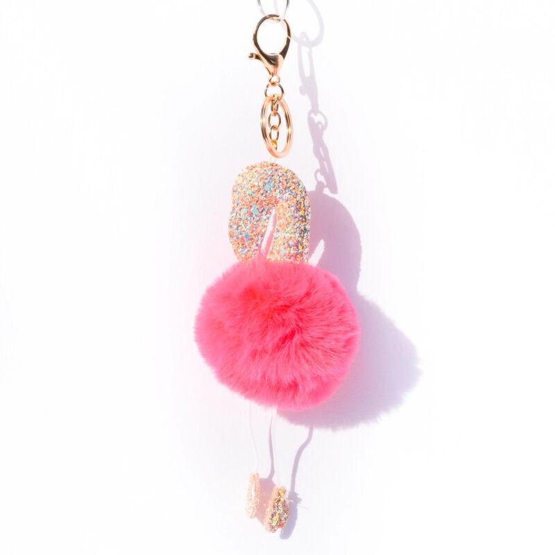 Flamingós Puha Szőrös Kulcstartó Pink