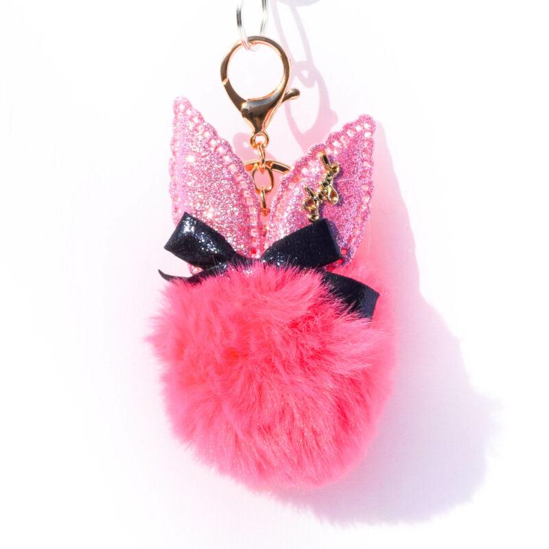 Nyuszis Puha Szőrös Kulcstartó Pink