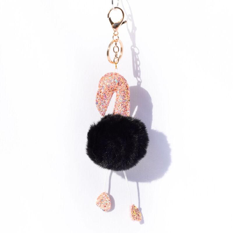 Flamingós Puha Szőrös Kulcstartó Fekete